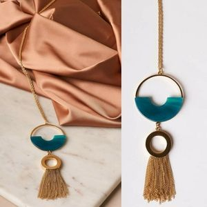 Lily Circle Tassel Gold Necklace (Teal)